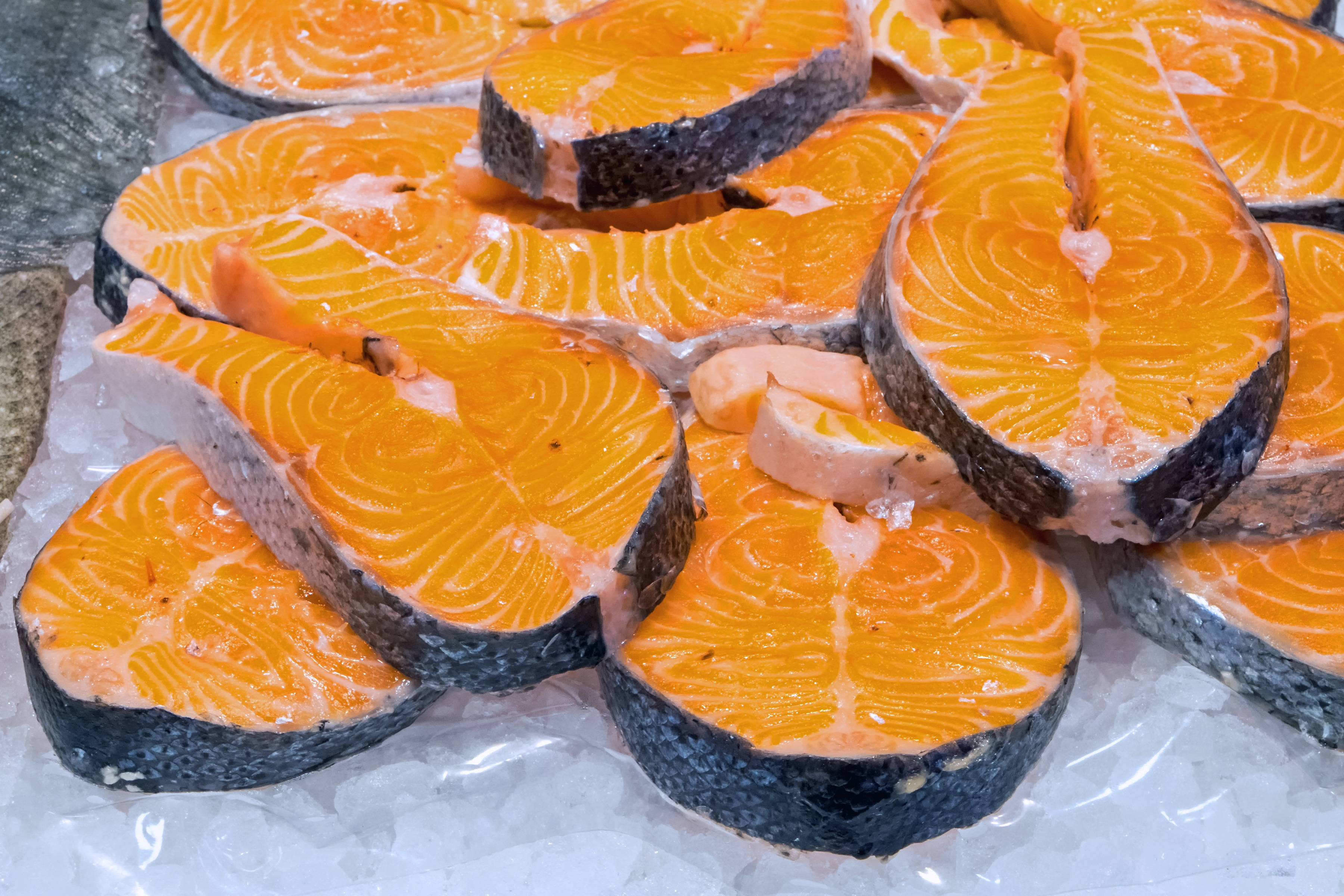 Fresh Filet Of Salmon For Sale At A Market