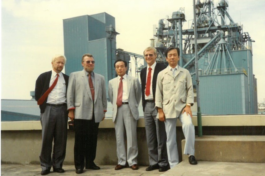 Niels Alsted And Delegation At Dae Han Feed Factory In South Korean 1989
